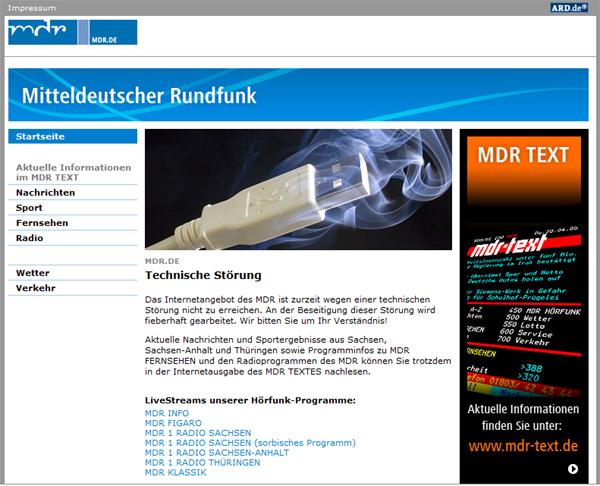 Screenshot mdr.de