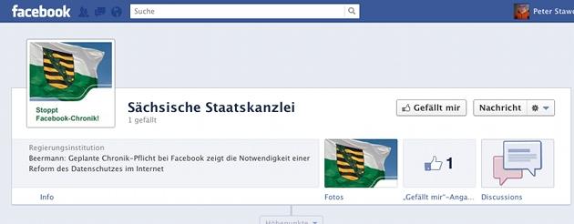 Screenshot von der noch fast leeren Timeline der Sächsischen Staatskanzlei.
