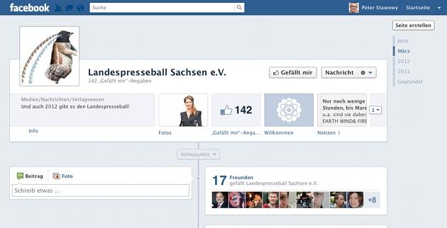 Screenshot von der Facebook-Fanpage des Landespresseball Sachsen e.V.