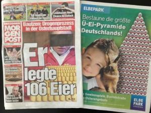 """Aus der """"Mopo Dresden"""" vom 4.4.2012 - Titelbild und S. 16."""