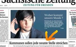 """""""SZ""""-Titelseite vom 20.4.2012 (Pfeil von uns)."""