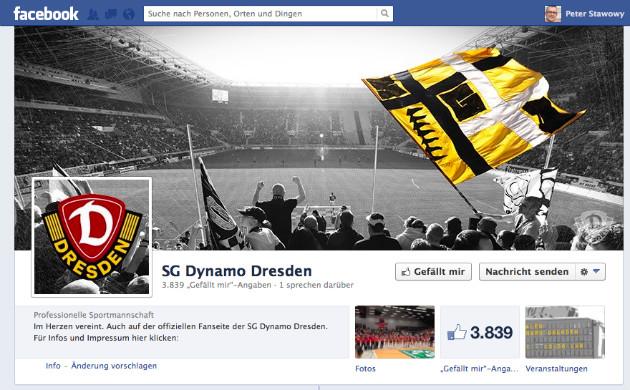 2,5h online und schon fast 4.000 Fans - die Dynamo-Facebook-Fanpage