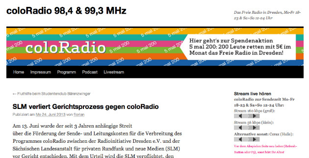 Screenshot von coloradio.org