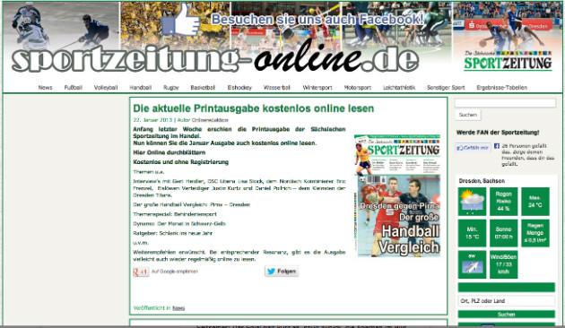 Screenshot von Sportzeitung-Online.de: Dort ist die Januar-Ausgabe noch zu finden.