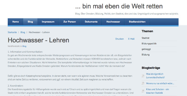 Screenshot vom Blog von Gerit Thomas