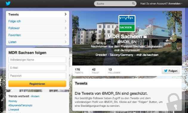 """""""Geschützt"""" - der Account ist schon eingerichtet, aber noch nicht öffentlich einsehbar. Screenshot von twitter.com/MDR_SN"""