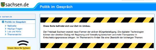 Screenshot von der Startseite der Dialogplattform des Freistaats Sachsen.