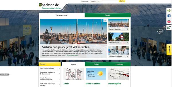 Screenshot von der neuen sachsen.de-Startseite