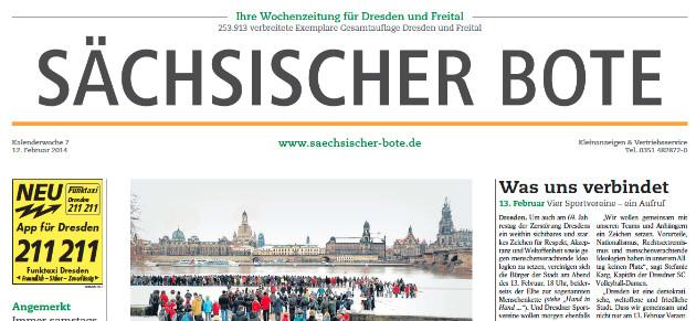 """Titel-Ausriss des letzten Mittwochs-""""Sächsischen Boten"""""""