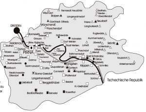"""Erscheinungsgebiet von """"PirRu"""" (Quadrat) und """"Sebnitzer Rundschau"""" (Dreieck), Karte aus Mediadaten."""
