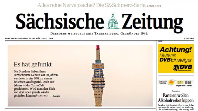 """Großflächig berichtete die """"SZ"""" am vergangenen Samstag im Magazin-Teil über den Fernsehturm und seine Zukunft."""