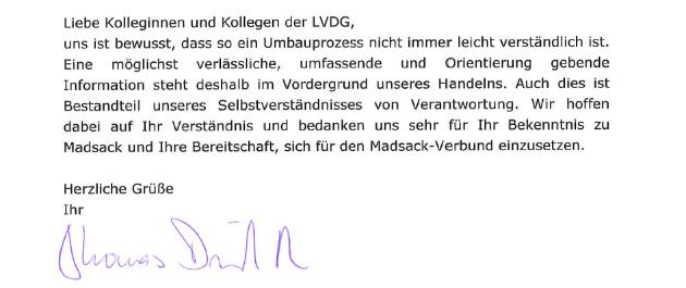 Aussriss aus dem Antwortbrief von Thomas Düffert, Vorstandsvorsitzender von Madsack.