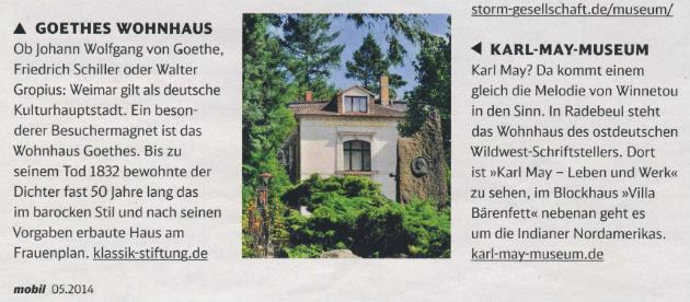 """Ausriss aus """"mobil - Das Magazin der Deutschen Bahn"""", Ausgabe 5/2014, S. 12."""