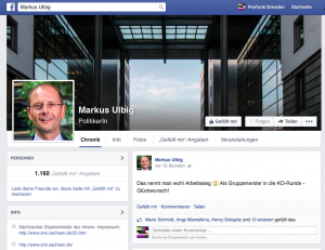 Screenshot von der Facebook-Fanpage des sächsischen Innenministers Markus Ulbig.