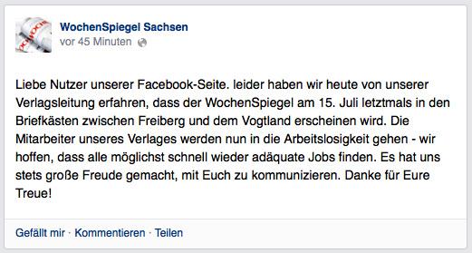 """Mit einem Facebook-Eintrag informierten die """"WochenSpiegel Sachsen""""-Mitarbeiter über das überraschende Ende."""