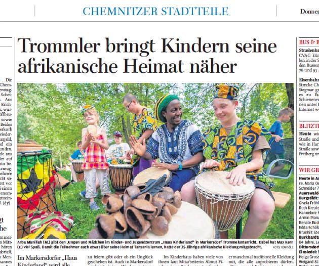 """Ausriss aus der """"Freien Presse"""" vom 24.07.2014, S. 10 (Chemnitzer Ausgabe)"""