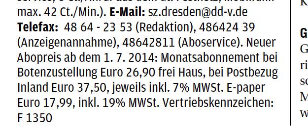 """Ausschnitt aus dem Lokal-Impressum der """"Sächsischen Zeitung""""."""