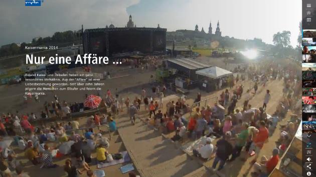Screenshot von reportage.mdr.de: Mit Start der Kaisermania-Reportage füllen sich langsam die Ränge.
