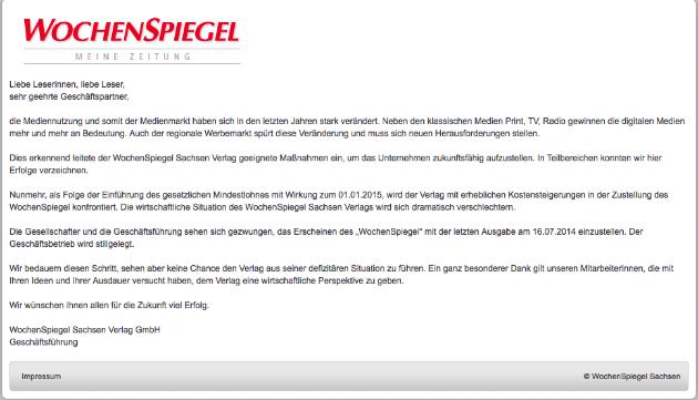 Screenshot von wochenspiegel-sachsen.de, Stand: 26.9.2014