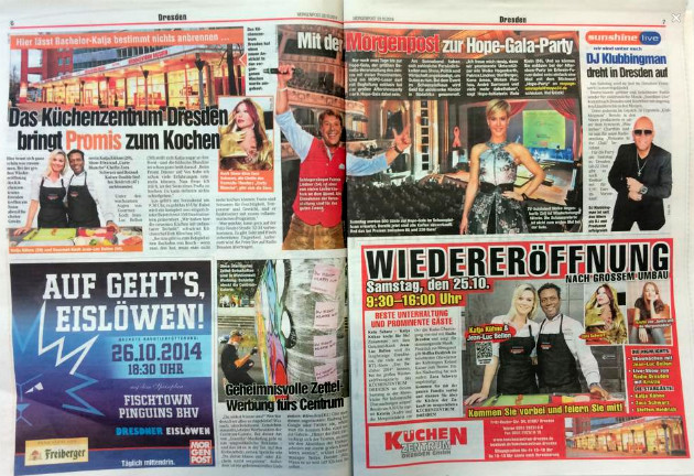 """""""Morgenpost Sachsen"""" vom 23.10.2014, Seite 6+7."""