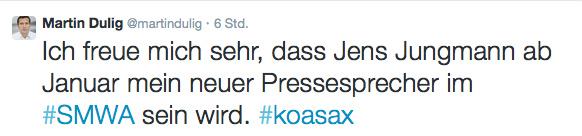 Tweet von Martin Dulig.