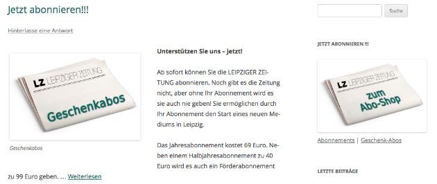 Screenshot von http://www.leipzigerzeitung.net.