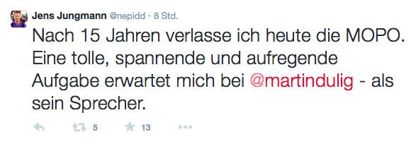 Tweet von Jens Jungmann.