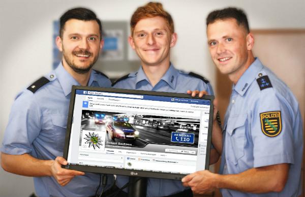 Das Social-Media-Team der Polizei Sachsen. In der Mitte: Florian Schönthal.