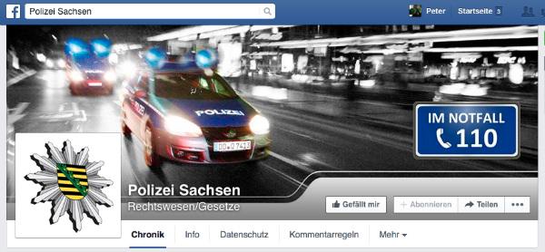 Screenshot von der Facebook-Fanpage der Polizei Sachsen.
