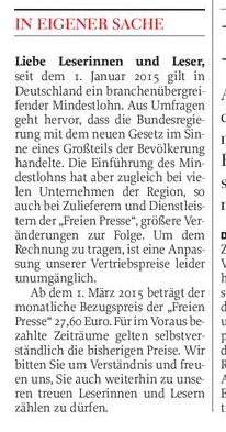 """Ausriss aus der """"Freien Presse"""" vom 13.2.2015, S. 5."""