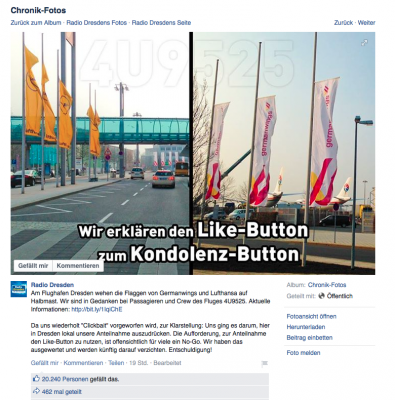Screenshot Radio Dresden Facebook-Fanpage