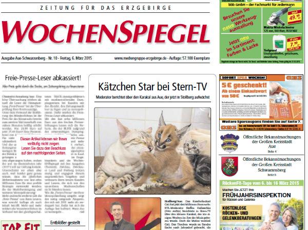 """Ausriss der """"Wochenspiegel Erzgebirge""""-Ausgabe vom 6.3.2015 mit dem unkenntlich gemachten Artikel."""