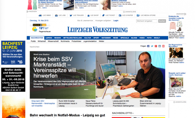 Screenshot von LVZ.de vom 19.5.2015