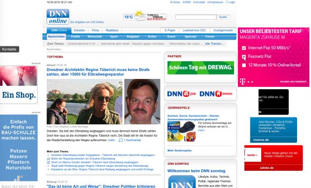 Screenshot von DNN-Online, Stand: 19.5.2015