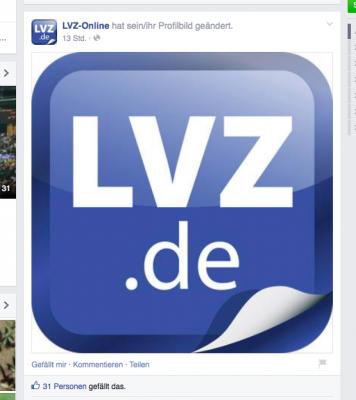 Das neue Online-Logo. Ausriss von der Facebook-Seite der LVZ.
