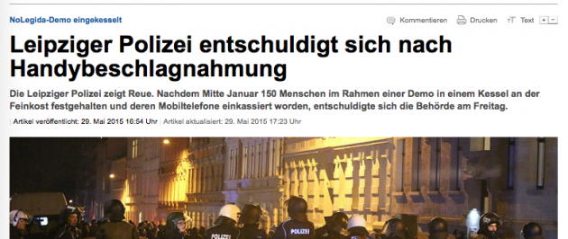 Ausriss aus der auf LVZ.de erschienen Fehlmeldung.
