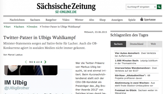 Screenshot von SZ-Online.de.