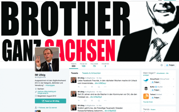 Screenshot vom Ulbig-Fake-Twitter-Account.