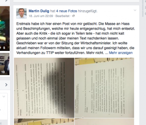 Ausriss aus dem neuen FB-Posting von Martin Dulig.