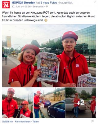 Screenshot von der Facebook-Seite von Mopo24.de - das Bild ist zum Originalbeitrag verlinkt.