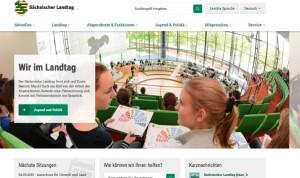 Screenshot von der neue Seite des Sächsischen Landtags.