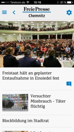 Screenshot von der App FP News.