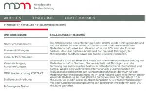 MDM Stellenausschreibung Screenshot, 28.10.2015