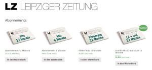 Blick auf den Online-Shop der Leipziger Zeitung