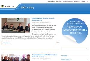 Screenshot vom neuen SMK-Blog des Sächsischen Kultusministerium