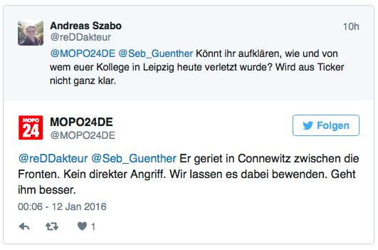 Mop24-Reporter verletzt, Nachfrage Andi Szabo