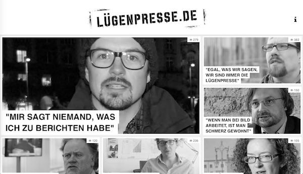 Screenshot von Lügenpresse.de