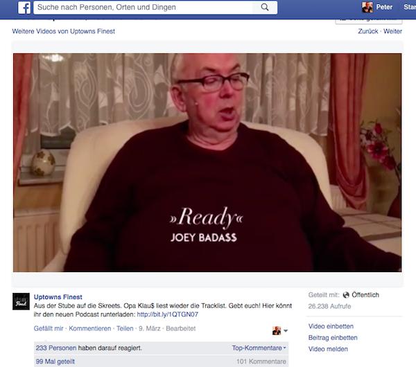"""Screenshot von der FB-Seite von """"Uptown Finest"""": Opa Klau$"""