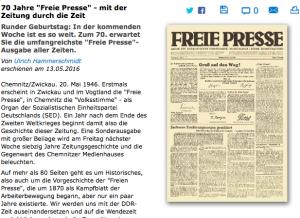 """Screenshot Jubiläum """"Freie Presse"""""""