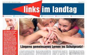 """Sieht schon irgendwie nach AfD aus, oder? Blick auf die Titelseite von """"links im landtag""""."""